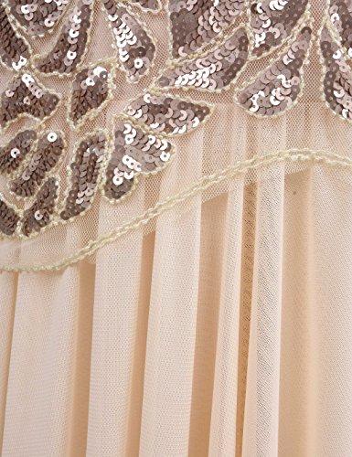 a15b20bd50 PrettyGuide Women  s 1920s Art Deco Sequin Gatsby Formal Evening Prom Dress  XL Champagne