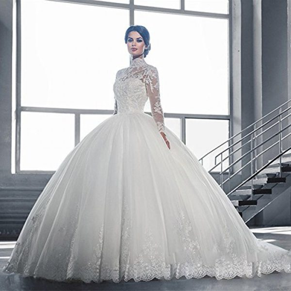 352397b6c6cea Chupeng Women's High Neck Long Lace Sleeves Ball Gown Long Wedding Dress  For Bride 2017 WHI 12