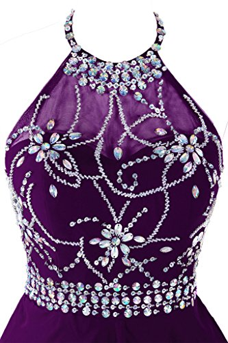 0fbe535f52b Topdress Women s Short Beaded Prom Dress Halter Homecoming Dress Backless  Dark Purple US 18Plus