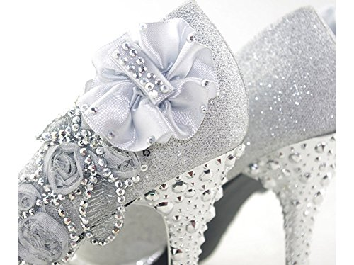 5b1ad02b232 Getmorebeauty Women s Silver Lace Flower Pearls Closed Toes Wedding Shoes 7  B(M) US