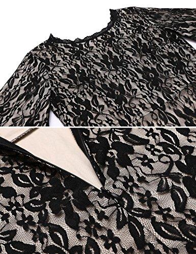4407de6bd0300 ANGVNS Women s Formal Floral Lace Scoop Neck Long Sleeve Cocktail Special  Occasion Dress Black XL