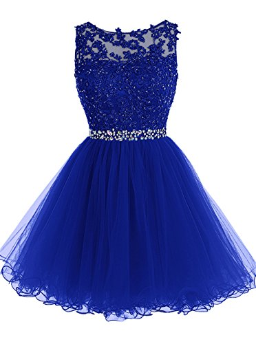 ALAGIRLS Short Beaded Prom Dress Tulle Applique Homecoming Dress Royal Blue US8