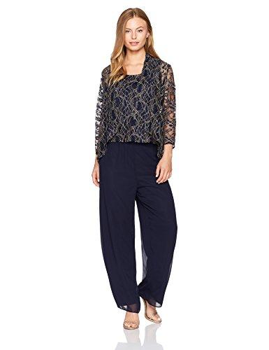 Alex Evenings Women's Petite 3-Piece Pant Suit with Cascade Detail Jacket, Navy Gold, 10P