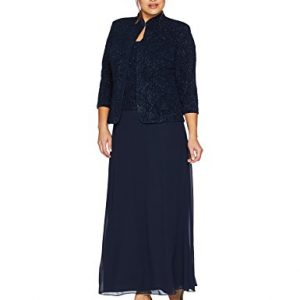 Alex Evenings Women's Plus Size Jacquard Knit Long Dress and Manadrin Jacket, Navy, 22W