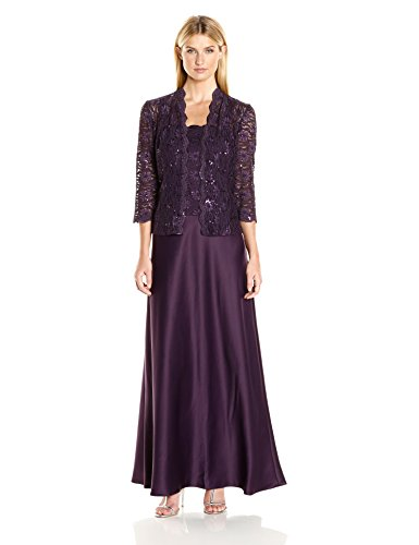 Alex Evenings Women's Two Piece Dress with Lace Jacket, Eggplant, 16