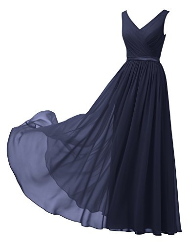fb2266d16f Alicepub V-Neck Chiffon Bridesmaid Dress Long Party Prom Evening Dress  Sleeveless