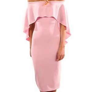 Alvaq Women Summer Short Sleeve Off Shoulder Ladies Clubbing Dresses Party Cocktail Dress Large Pink