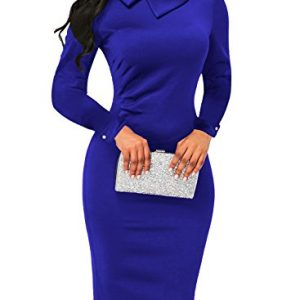 AlvaQ Women's Fall Graduation 2017 Clothing Bodycon Midi Dress Work Party Cocktail Dress Blue