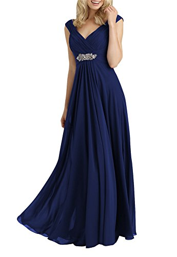 Always Pretty Women's V-Neck Empire Line Mother of The Bride Dresses Navy Blue US 12
