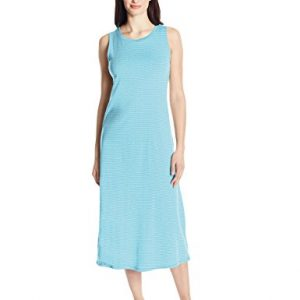 Amazon Essentials Women's 100% Cotton Sleeveless Nightgown, Blue Stripe, Medium