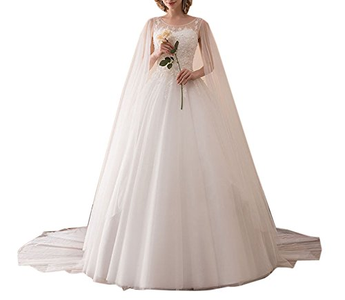 Amore Bridal Luxury Princess Cathedral Train Wedding Bridal Dress With Ribbon White, 24W