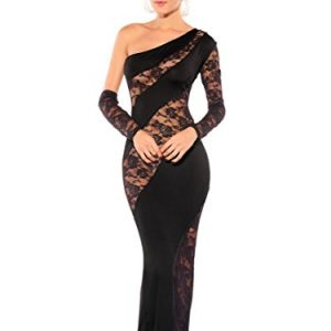 785c809299a7 Amoretu Women's Elegant Figure Flattering Splicing Sheer Maxi Diva Dress