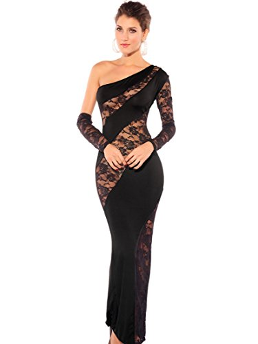 Amoretu Women's Elegant Figure Flattering Splicing Sheer Maxi Diva Dress