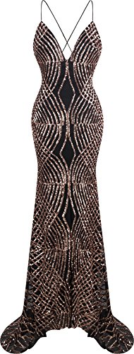 Angel-fashions Women's Spaghetti Strap Sequin V Neck Mermaid Long Ball Gown XXLarge