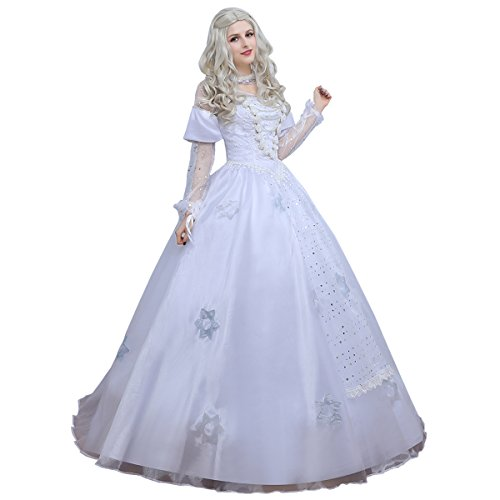 Angelaicos Womens White Queen Costume Long Lace Bridal Dress Luxury Gown (XL)