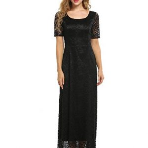 ANGVNS Women's Vintage Lace Floral Short Sleeve Slim Wedding Bridesmaid Long Maxi Dress,Black,Medium