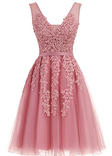 Annadress Women's Sleeveless Homecoming dresses Short Net Bridesmaid Dresses Appliques Evening Cocktail Gowns Pale Mauve 10