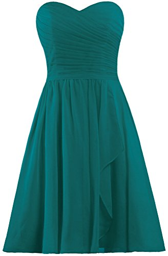 ANTS Women's Sweetheart Short Bridesmaid Dresses Chiffon Wedding Party Dress Size 6 US Teal