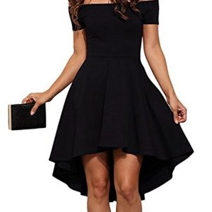 Aolakeke Women Casual Off Shoulder Formal Party Cocktail Dress With Short Sleeves, X-Large, Black