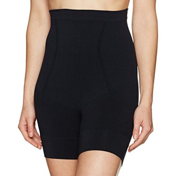 Arabella Women's Seamless Waist Shaping Thigh Control Shapewear, Black, Large