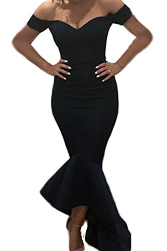 Astylish Womens Evening Dress Off Shoulder Flouncing Mermaid Formal Prom Gowns Small Black