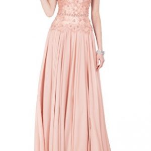 Avril Dress Captivating V Neck Evening Dress Cab-Shoulder Mother of Bride Gown-14-Pink