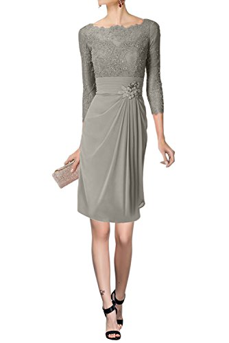 Avril Dress Glamorous Mother of Bride Gown Long Sleeveless Empire Lace Party Dress-2-Grey S