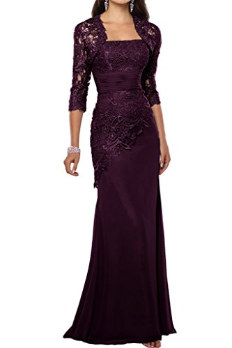 Avril Dress Gorgeous Mother of Bride Wedding Guest Dress With Lace Jacket New-8-Grape
