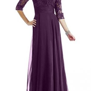 Avril Dress Graceful Half Sleeves Mother of Bride Dress Empire Lace Gown-22W-Dark Grape