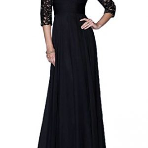 Avril Dress Lace Halfsleeve Mother of the Bride Prom Dress Long for Wedding-22W-Black