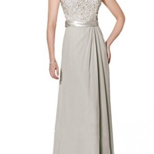 Avril Dress Short Sleeve Lace Beading Jewel Mother of Bride Evening Dress Long-8-Gray