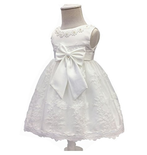 Baby Bow Knot Baptism Dress,Christening Gown (6Months, Off-White)