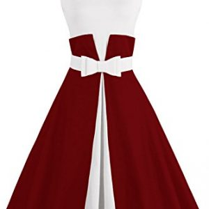 Babyonlinedress Double Color Swing Rockabilly Graduation dress,Burgundy,2XL