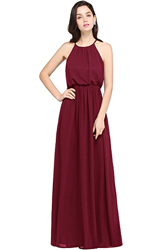 Babyonlinedress halter neck caual maxi dress women's chiffon formal evening dress,Burgundy,14
