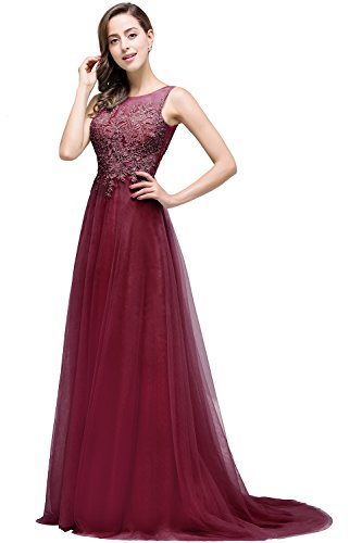 Babyonlinedress New arrival Lace tulle formal military ball dress,Burgunday,6