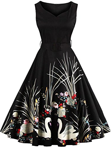 Babyonlinedress Women 1950s Vintage Dresses Retro Style Cocktail Gown,Black,M