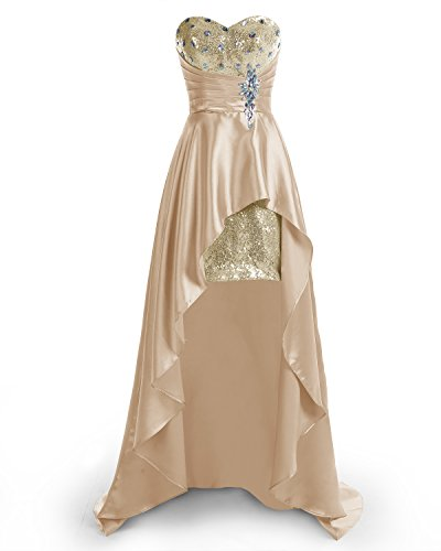 bbonlinedress Hi-Lo Sexy Sweetheart Beaded Sequins Evening Party Gowns Prom Dresses Champagne 8