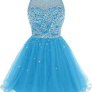 Bbonlinedress Short Tulle Beading Homecoming Dress Prom Gown Blue 26W