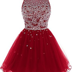 Bbonlinedress Short Tulle Beading Homecoming Dress Prom Gown Dark Red 16