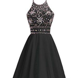 Belle House Women's Short Beaded Prom Dress Halter Homecoming Dress Backless Black