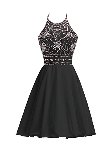 Belle House Women's Short Beaded Prom Dress Halter Homecoming Dress Backless Black