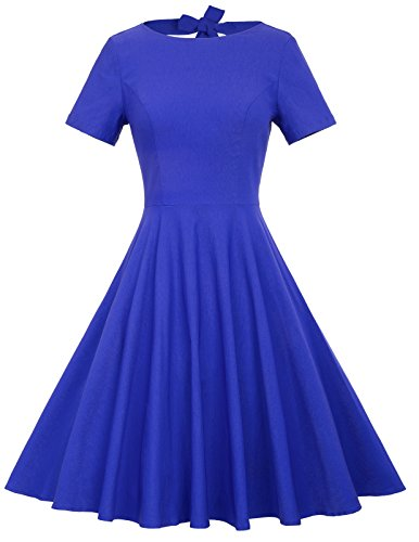 Belle Poque Short Sleeve1940s Vintage Dress Pleated Bodice Blue S BP210-3