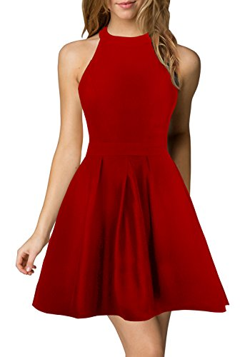 Berydress Women's Halter Neck Backless Black Cocktail Party Dress (US6, 6019_Red)