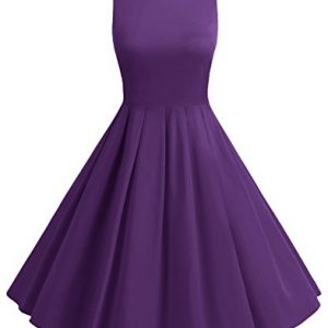 BeryLove Women's Vintage 50s Polka Dot Bowknot Retro Swing Cocktail Party Dress Purple Size 3XL