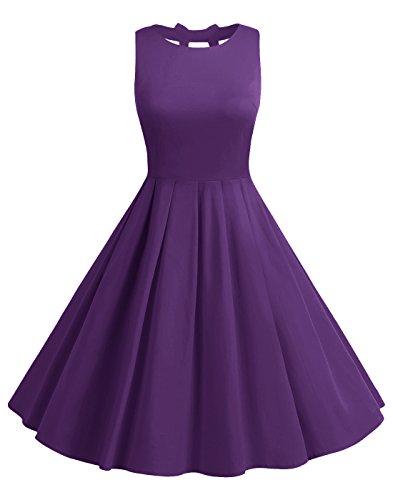 BeryLove Women's Vintage 50s Polka Dot Bowknot Retro Swing Cocktail Party Dress Purple Size 3XL