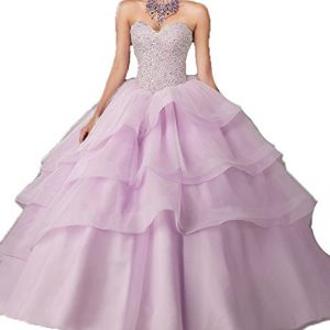 BessDress Gorgeous Long Prom Dreses Girls'Ball Gown Beads Quinceanera Dresses BD084