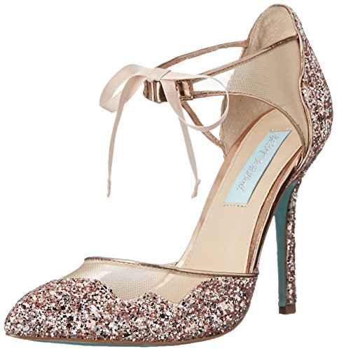 Blue by Betsey Johnson Women's stela Dress Pump, Champagne Glitter, 7.5 M US
