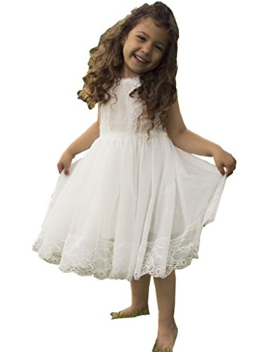 Bow Dream Flower Girl's Dress Lace Off White 4T