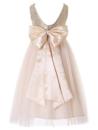 Bow Dream Flower Girl's Dress Sequins Gold 6