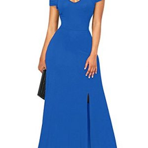 Bulawoo Women's NightClub Short Sleeve Sexy Cold Shoulder Flared Maxi Party Dress Large Size Royal Blue